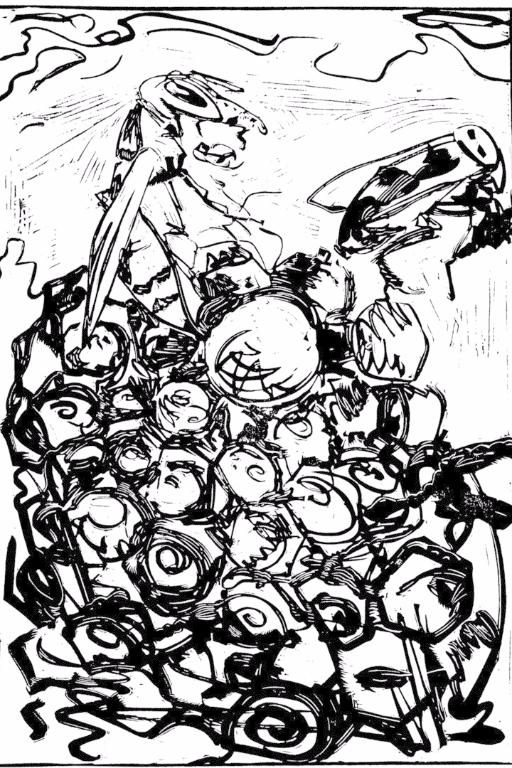 wespe, wasp, nest, brut, linolschnitt, unikat, schwarz, weiß